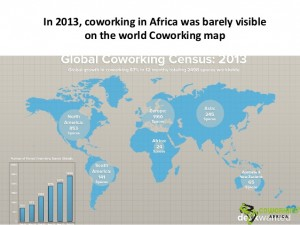 In 2013, there were just 24 coworking spaces registered in Africa